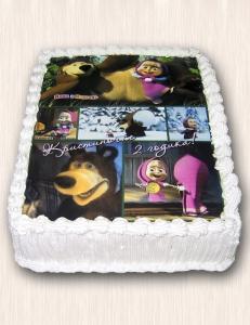 """Фото-торт № 23 """"Маша и Медведь"""""""